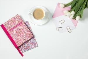pink journals, flowers